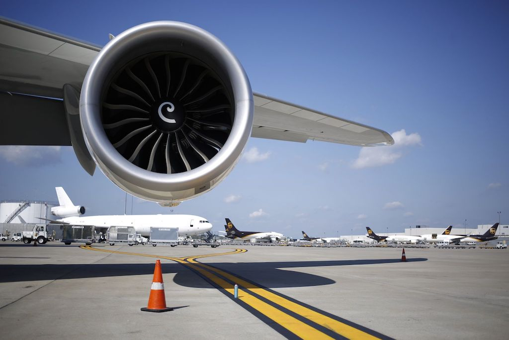 The jet engine of a Boeing 747-8 is pictured on the tarmac at the United Parcel Service Inc. (UPS) Worldport facility in Louisville, Kentucky, U.S., on Friday, Oct. 5, 2018. UPS is expected to release quarterly earnings on Oct. 24. Photographer: Luke Sharrett/Bloomberg
