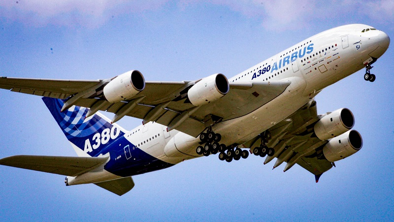 PARIS- JUNE 13:  The worlds largest passenger liner, the Airbus A-380 flies on display at the Paris Air-show June 13, 2005 in the Paris suburb of Le Bourget, France. The Airshow which is held every two years is open to industry and visitors and will be showcasing some exciting new products. (Photo by Pascal Le Segretain/Getty Images)